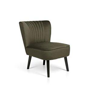 LIFA LIVING Poltrona vintage imbottita in velluto color verde oliva sedia con piedi in legno nero per sala da pranzo cucina soggiorno capacit fino a 100 kg