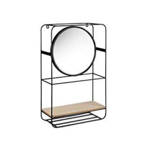 LIFA LIVING Mensola da Muro con Specchio e Ganci  Design Vintage  Legno e Metallo  per Salotto Bagno corridoio Ingresso Verticale
