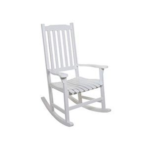 Sedia a dondolo vintage in legno bianco per esterno