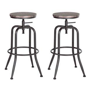 Aingoo Sgabello da Bar Vintage Set di 2 Sedie Regolabili in Cucina con Struttura in Metallo 7779 cm Sedia da Bar Industriale Marrone Scuro