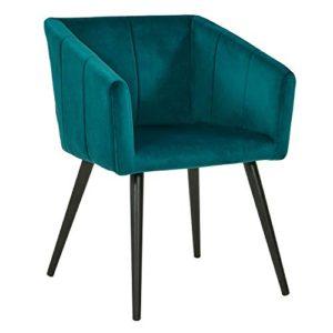 Duhome Sedia da Sala da Pranzo in Tessuto Velluto Verde bluastro Blu Azzurro Design Retro con Piedini in Metallo Sedia Imbottita Poltrona Vintage Selezione Colore 8065