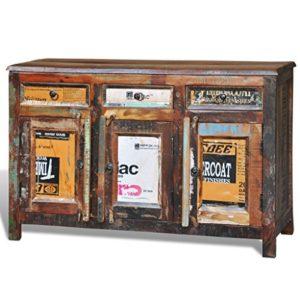 vidaXL Armadietto a credenza vintage legno riciclato 3 cassetti 3 sportelli