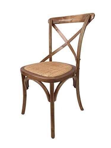 Totò Piccinni Sedia in Legno Design Cross, Seduta Intreccio Rattan, Alta  QUALITA\' (Marrone Chiaro, 1)