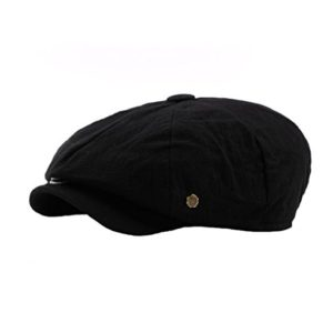 Regolabile Hatteras Donne Uomini Unisex Stile Retr Pianura Cappello Newsboy Nero