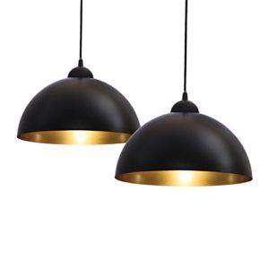 Lampadari a sospensione vintage industriale set da 2 diametro 30cm adatti per lampadine LED E27 non incluse lampada elegante da soffitto per sala da pranzo metallo nero esterno oro interno IP20
