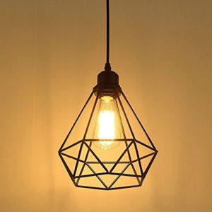 Lampada a Sospensione da Vintage Industriale E27 Plafoniera Retro pendente in Metallo nero Type A