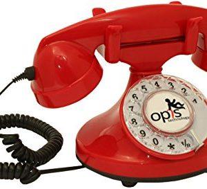 OPIS FunkyFon cable Telefono con disco combinatore rotante dalla linea sinuosa degli anni 20 con moderno campanello elettronico rosso