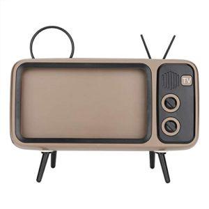 Retro Telefono Cellulare Altoparlante Bluetooth a Forma di TV con Audio HD Adatto per Smartphone Portatile da 6 Pollici con Altoparlante Portatile Mini Amici e familiariGrigio