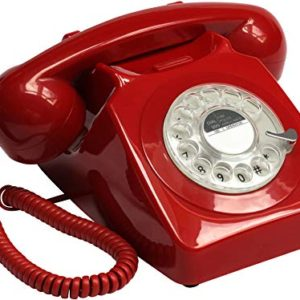 GPO 746 Rotary 1970sstyle Retro Landline Phone  Curly Cord Authentic Bell Ring  Red