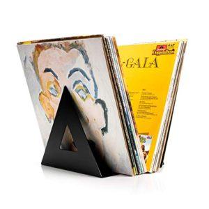Audivisions Delta Porta Dischi Vinile  Contenitore per Dischi Vinile di Design di Alta Qualit  Contiene Fino a 60 Album LP 33 Giri da 12 Pollici  In Metallo  Forma Triangolare