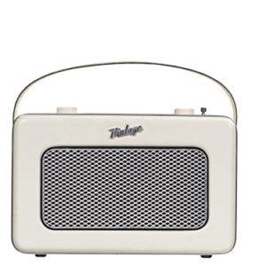 Nikkei NPR200BN  Radio portatile con MP3 stile retro con sintonizzatore AMFM tuner e auxin alimentazione di rete e batteria 2 Watt bianco