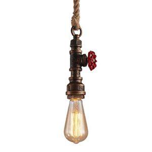 Modeen Singola Testa Canapa Vintage Corda Appesa Luce Lampada a sospensione a fune della corda di canapa del lampadario del tubo dellacqua del ferro industriale di E27 Edison lampadina del caff Lamp