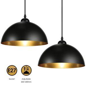 Albrillo Lampadari a Sospensione Vintage Industriale diametro 30cm per lampadine LED E27 Lampada Moderna da Soffitto per Salotto Soggiorno Ristorante Paralume in Metallo Nero e Oro IP20 2PCS