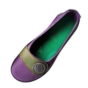 BaojunHT  Mocassini da Donna in Morbida Pelle Stile Casual da Barca da infilare per Guida Lavoro Infermiere Viola Purple 38 EU