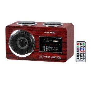 Majestic AH173WD Sistema Audio Multimediale a Tre Altoparlanti Ingressi USBSDAUX Radio PLL e Telecomando colore Legno