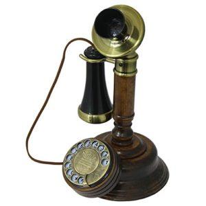 OPIS 1921 CABLE  MODELLO C  Telefono retr di legno  plastica nera classica in parte coperta in ottone  con disco combinatore e campanello meccanico
