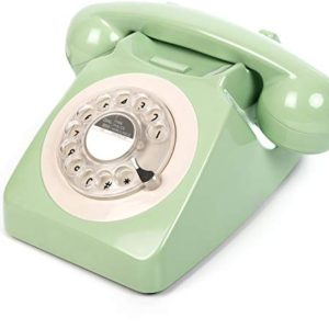 GPO 746 Rotary 1970sstyle Retro Landline Phone  Curly Cord Authentic Bell Ring  Mint Green