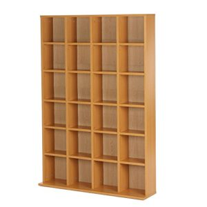 homcom Mobile Libreria Porta CD a Muro 24 Scompartimenti Regolabile in Altezza 1305  89  20cm Legno Naturale