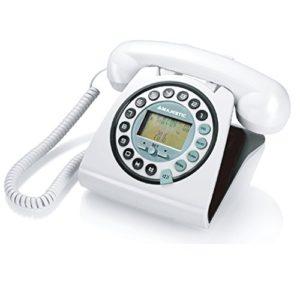 Majestic PHF MAX 252  Telefono fisso vintage con display LCD e vivavoce tasti in rilievo Bianco