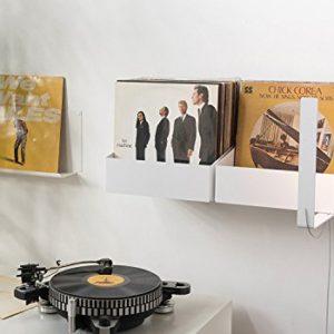 TEEbooks Scaffale Porta vinili  Set di 2 mensole  Acciao  Bianco  15 x 25 x 32 cm