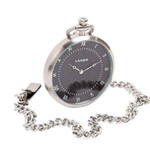 LAiMER Orologio da tasca di acciaio premium con quadrante in legno di Sandalo