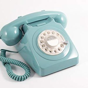 GPO 746 Rotary 1970sstyle Retro Landline Phone  Curly Cord Authentic Bell Ring  Blue