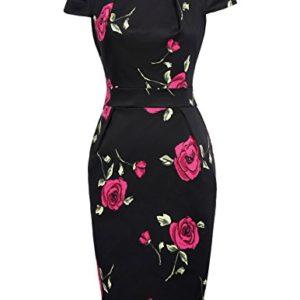 Belle Poque Donna Abito Vestito HipsWrapped Bodycon a Maniche Corte Stile Vintage Stampata Elegante fioreale M BP3053