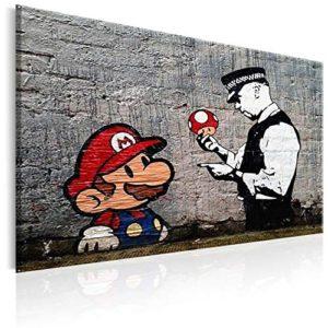 murando Quadro 120x80 cm  1 Pezzo Stampa su Tela in TNT XXL Immagini Moderni Murale Fotografia Grafica Decorazione da Parete Banksy Street Art Mario hB0080ba