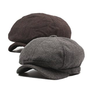 DecStore Pacco di 2 Uomo Cotone Cappuccio Berretti Edera Cappelli Guida Cappelli Invernale Vintage Beret HatBrownCoffee