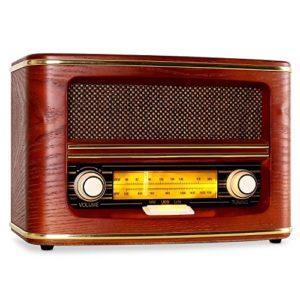AUNA Belle Epoque 1905  Radio Nostalgia Ricevitore FM Scala Banda frequenza Regolabile Interruttore Luce regolatore Volumefrequenza Antenna tiro Custodia in Legno Arrotondata Rosso