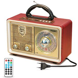 Radio MP3 Portatile Bluetooth PRUNUS M110BT FMAMMWSWAUXSDTFUSB In stile Classico Vintage Retro simillegno Altoparlanti 3W incorporati non provvisto di presa per le cuffie Argento