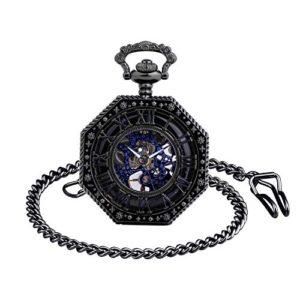 Infinite URoman Numbers Ottagonale Squisita Bozza Retro Orologio da tasca meccanico Idea regalo per uomo Donna