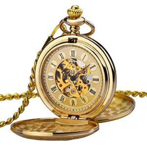 Orologio uomo da tasca Zeiger Orologio Steampunk scheletro meccanico orologi uomini Retro pendente orologio da tasca W346M Oro