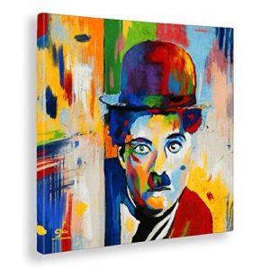 Giallobus  Quadro gi intelaiato Pronto da Appendere  Stampa su Tela Canvas  Charlie Chaplin  Quadri Moderni per arredo casa Design  Vari Formati XXL  50x50 cm