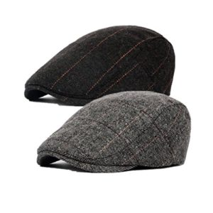 Decstore Pacco di 2 Uomo Cotone Cappuccio Berretti Edera Cappelli Guida Cappelli Invernale Vintage Beret HatBlackGray