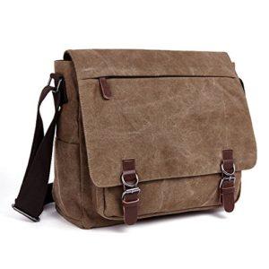 LOSMILE Uomo Tela Borsa a Tracolla Borsa di Tela Sacchetto del Messaggero Sacchetto di Messenger bag 16 pollici Laptop Borsa Caff