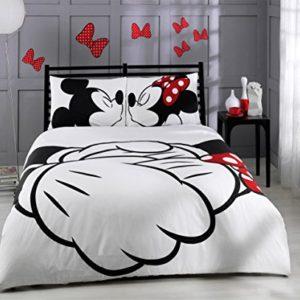 Bepoe HT  Set copripiumino collezione Disney Topolino e Minnie 6 pezzi 100 cotone per letto matrimoniale misura piena lenzuola di lino