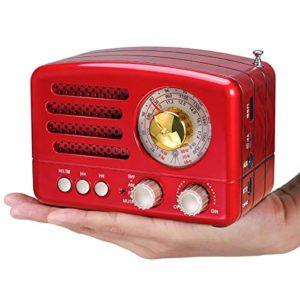 PRUNUS Radio a transistor ricaricabile Bluetooth in stile Classico Retro come il legno FMAMMWSWSDTFUSBMP3AUX con Altoparlanti Finestra di sintonizzazione circolare di 270