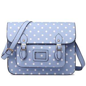 Miss Lulu cartella vintage con design a pois in ecopelle per lavoro o per la scuola borsa Satchel 1665 Dots Blue Taglia unica