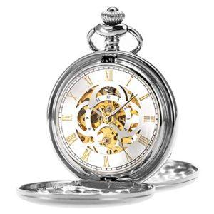 ManChDa Orologio da tasca Retro Liscio Classico orologio da taschino meccanico a carica manuale Windpunk Numeri romani Orologio da taschino per uomo Donna con catena  confezione regalo