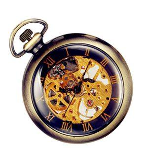 Lancardo Orologio 2 Pezzi Meccanico da Tasca per Uomo Quadrante Numeri Romani Manuale Trasparente Bronzo Regalo Perfetto