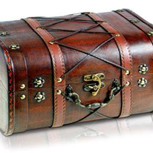 Brynnberg Scrigno del Tesoro Vintage Bauletto Stile Antico per Accessori Gioielli Oggetti di Valore Cassaforte in Legno Idea Regalo Decorativa 32x26x20cm