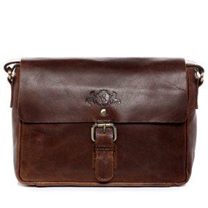 SID  VAIN Borsa messenger vera pelle vintage YALE piccolo borsello tracolla borsa a spalla Lavoro uomo donna cuoio marrone