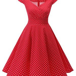 bbonlinedress Womens Vintage 1950s cap Sleeve Rockabilly Cocktail Dress MultiColored Red Small White DOT S
