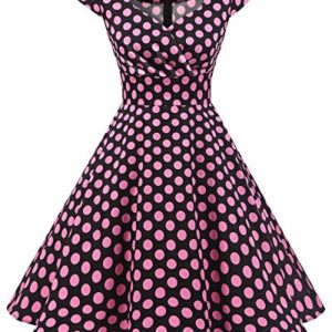 bbonlinedress Womens Vintage 1950s cap Sleeve Rockabilly Cocktail Dress MultiColored Black Pink BDot S